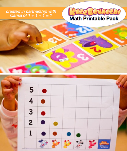 Play with Numbers! Download this fun preschool math printable pack created by KneeBouncers and Carisa from 1 + 1 + 1 = 1. #KneeBouncersPlay
