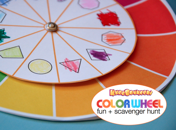 Play with Colors! Kneebouncers Color Wheel Activity + Scavenger Hunt #Preschool #Learning #KneeBouncersPlay