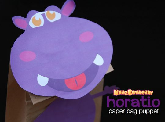 Horatio Paper Bag Puppet.010 make a horatio the hippo puppet