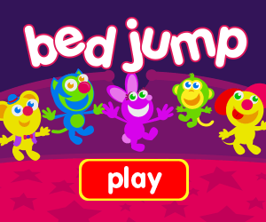 jumping on bed game for baby and toddlers with monkey, cat, dog, bunny, hippo