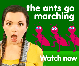 ants go marching title for Kiki's Music Time music video for toddlers on KneeBouncers, learn counting