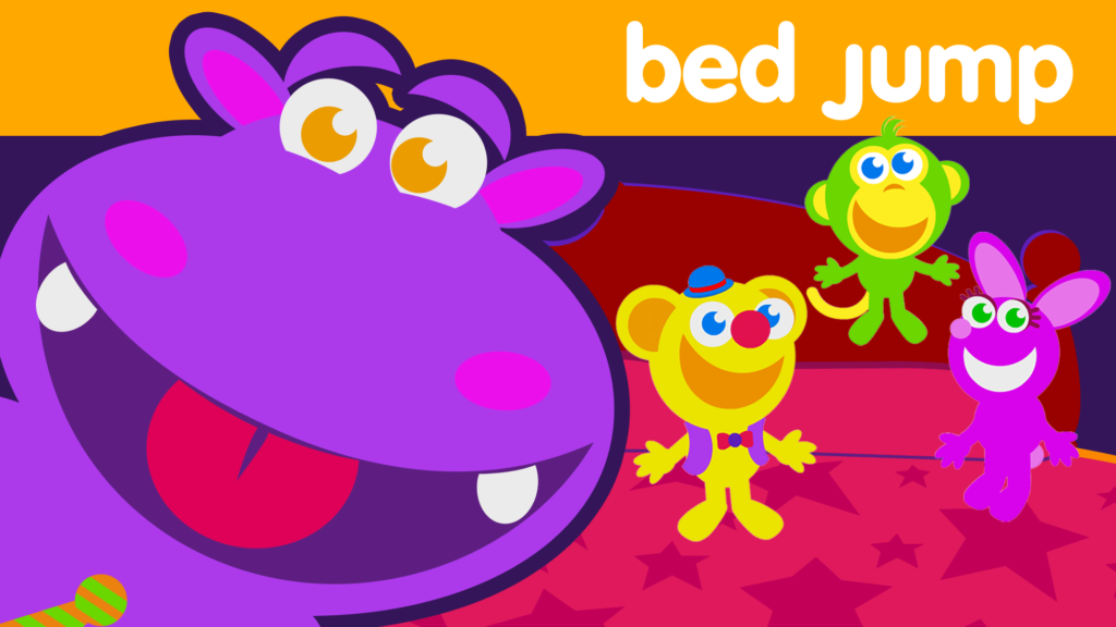title for bed jump episode of the kneebouncers show on babyfirsttv