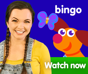 Bingo title for Kiki's Music Time music video for toddlers on KneeBouncers