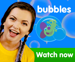 title for Kiki's Music Time music video for toddlers on KneeBouncers, bubble popping, bubble pop song