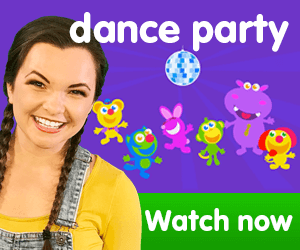 title for Kiki's Music Time music video for toddlers on KneeBouncers, dance, dance party