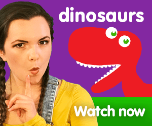 title for Kiki's Music Time music video for toddlers on KneeBouncers, dinosaur song