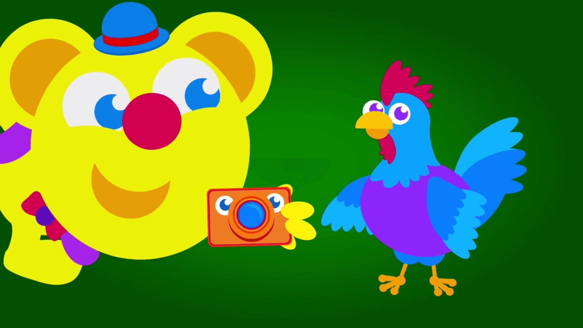 Freddy takes picture of rooster in the kneebouncers show episode about farm animals on babyfirst