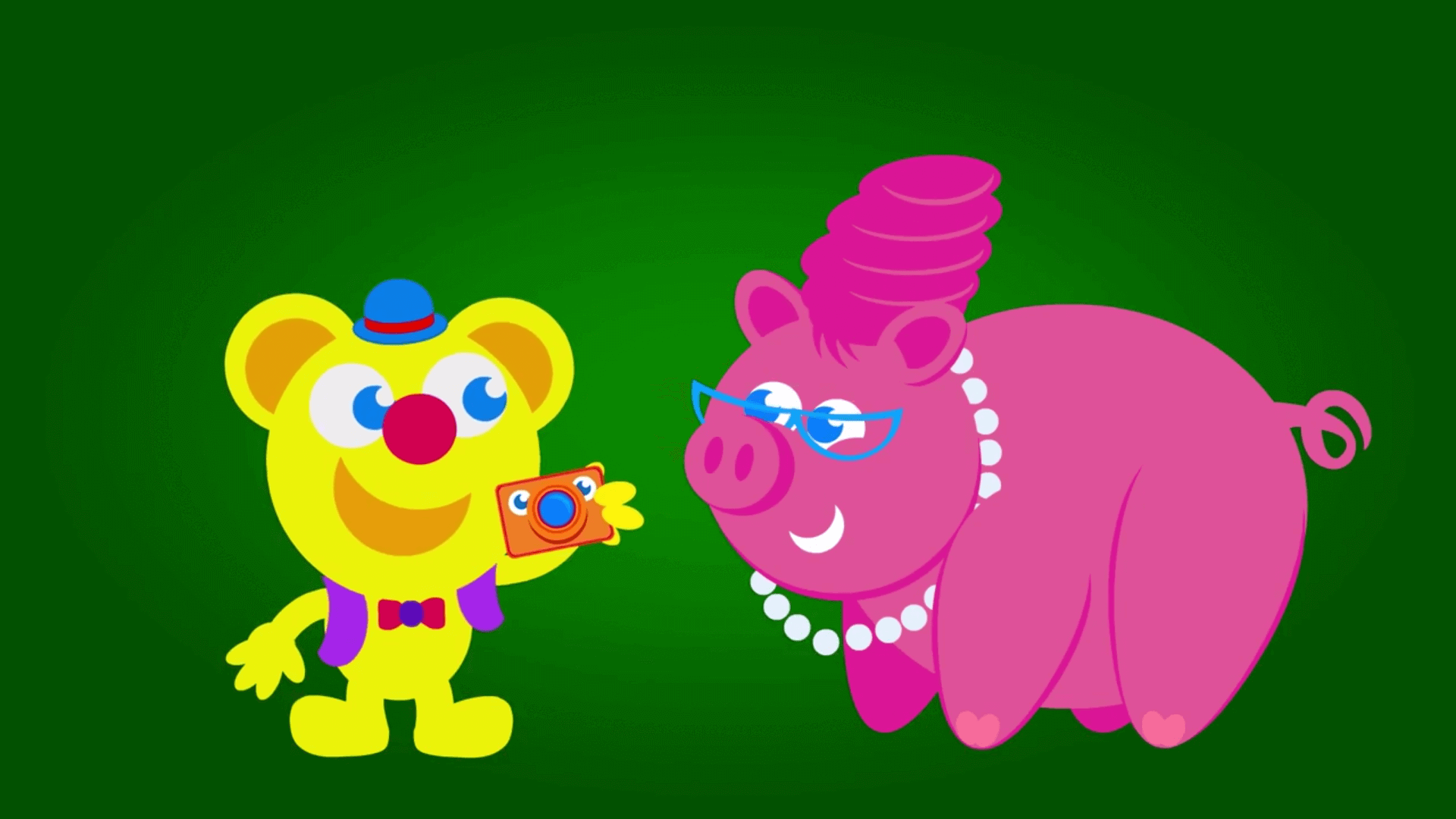 Freddy takes picture of pig in the kneebouncers show episode about farm animals on babyfirst