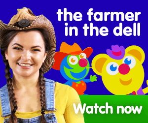 The farmer in the dell title for Kiki's Music Time music video for toddlers on KneeBouncers