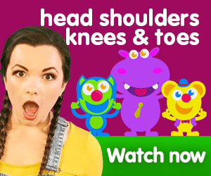 head shoulders knees and toes title for Kiki's Music Time music video for toddlers on KneeBouncers