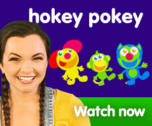 hokey pokey title for Kiki's Music Time music video for toddlers on KneeBouncers