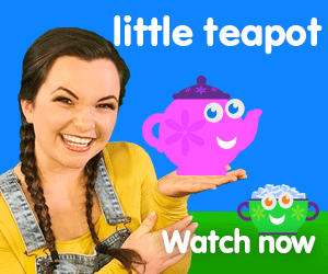 I'm a little teapot title for Kiki's Music Time music video for toddlers on KneeBouncers