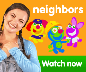 title for Kiki's Music Time music video for toddlers on KneeBouncers, neighbors song, song about community