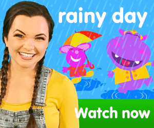 title for Kiki's Music Time music video for toddlers on KneeBouncers, rainy day song