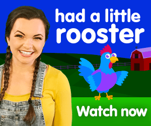 had a little rooster title for Kiki's Music Time music video for toddlers on KneeBouncers