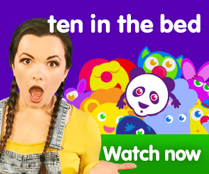 Ten in the bed title for Kiki's Music Time music video for toddlers on KneeBouncers