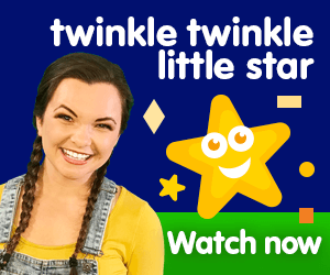 twinkle twinkle little star title for Kiki's Music Time music video for toddlers on KneeBouncers, learn shapes