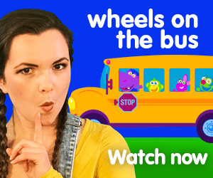 wheels on the bus title for Kiki's Music Time music video for toddlers on KneeBouncers