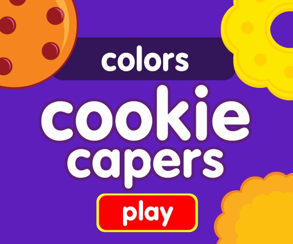 Preschool game, learn colors, cookie game