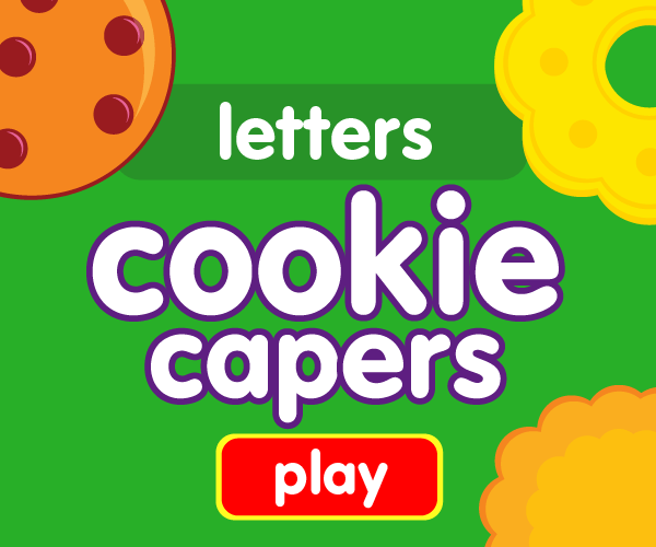 Preschool game, learn letters, cookie game