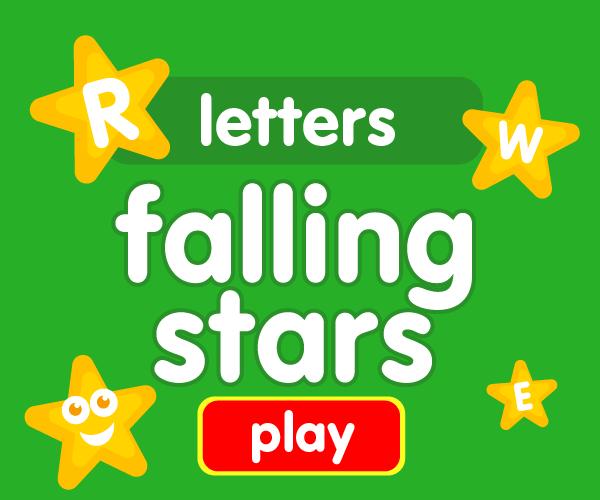 Preschool game, learn letters, falling stars game