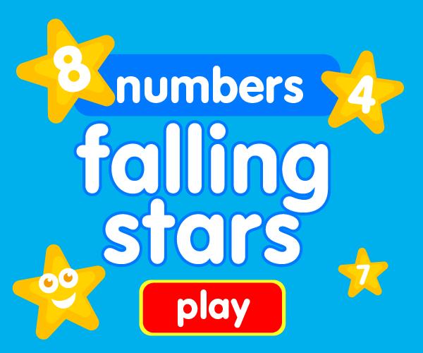 Preschool game, learn numbers, falling stars game