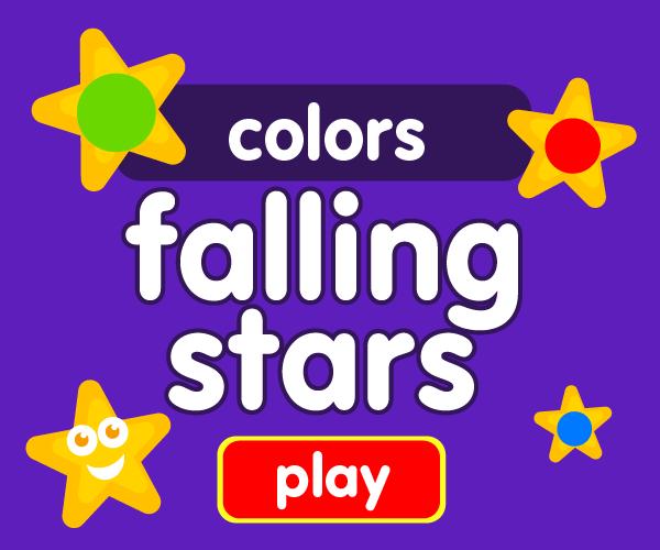 Preschool game, learn colors, falling stars game
