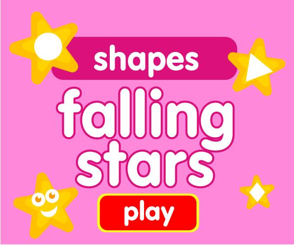 Preschool game, learn shapes, falling stars game