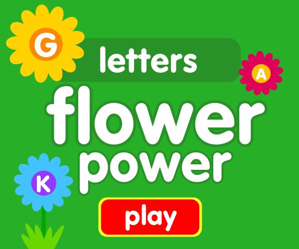 Preschool game, learn letters, flower game