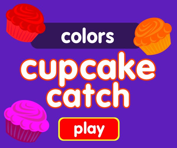 Preschool game, learn colors, cupcake catching game