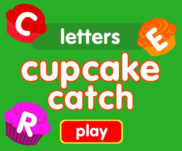 Preschool game, learn letters, cupcake catching game