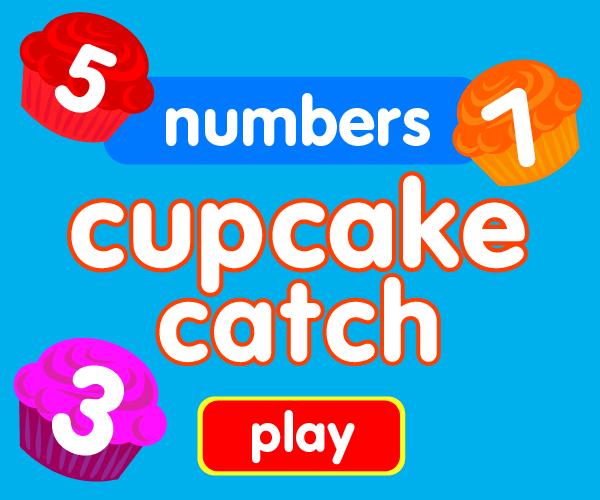 Preschool game, learn numbers, cupcake catching game