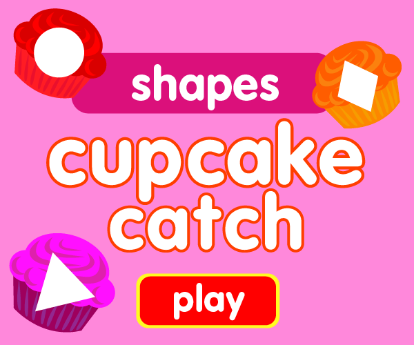 Preschool game, learn shapes, cupcake catching game