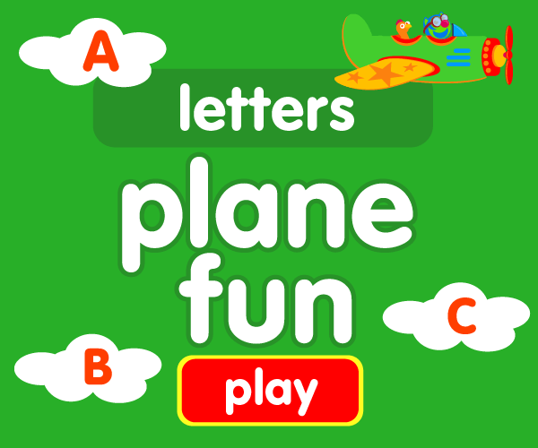 Preschool game, learn letters, airplane game