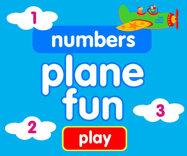 Preschool game, learn numbers, airplane game