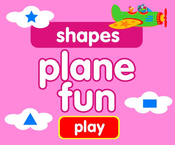 Preschool game, learn shapes, airplane game