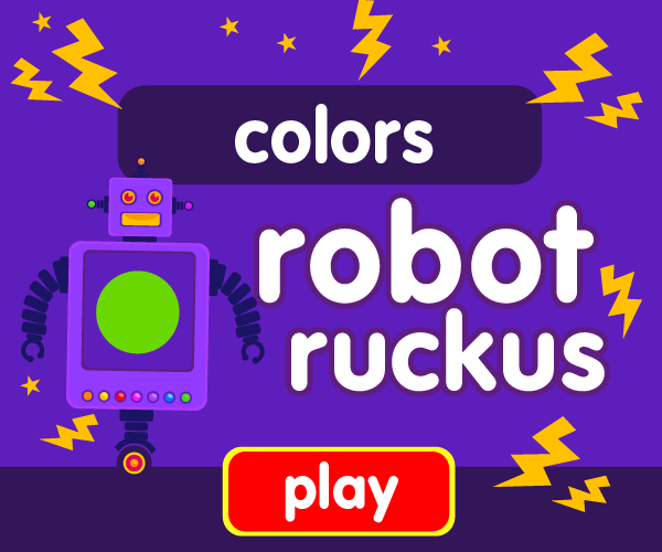 Preschool game, learn colors, robot game