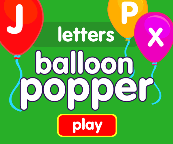 Preschool game, learn letters, balloon popping game